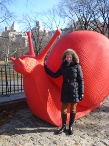 Die Schnecke im Central Park mahnt als temporäres Kunstwerk, auch mal langsam zu gehen...